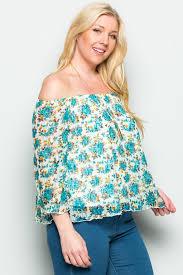 blouse plus size plus size aqua floral shoulder lace blouse my yuccie