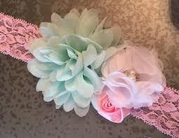 mint green headband headbands lace headband pink navy mint green and ivory headband