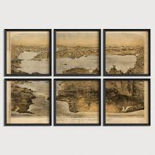 Map Art San Francisco Antique Map Art Print Set 1876 U2013 Blue Monocle