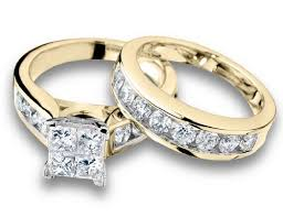 yellow gold wedding ring sets princess cut engagement ring and wedding band set 2 carat