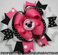 minnie mouse hair bow minnie mouse hair bow hot pink and black hairbow boutique hairbows
