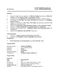 Cognos Sample Resume Resume Test Resume For Software Testing Engineer Resume Samples
