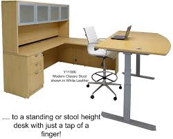 Adjustable Height Desk by Electric Lift U Shaped Maple Workstation W Hutch Free Shipping