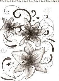 three lily flowers tattoos design