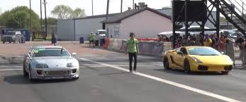 bugatti veyron vs lamborghini gallardo 1 400 hp toyota supra races two 1 800 hp lamborghinis and wins