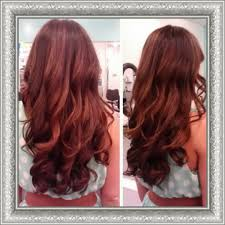 coke blowout hairstyle chocolate brown hair red highlights cherry cola hair color salon