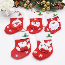 5pcs lot christmas tree ornaments mini red christmas stockings