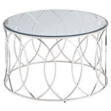 round silver accent table elana silver stainless steel round coffee table pier 1 imports
