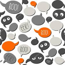 halloween white background halloween related text and designs on gray orange talk bubbles on
