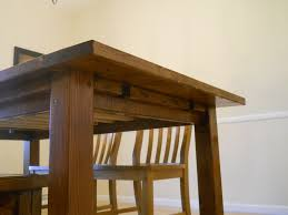 Free Wooden Dining Table Plans by Ana White Farm House Dining Room Table Modified With Breadboard