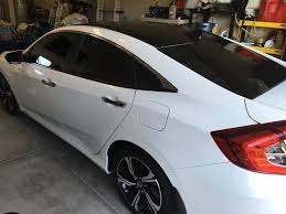 honda civic modified white black carbon roof wrap on modern steel metallic 2016 honda