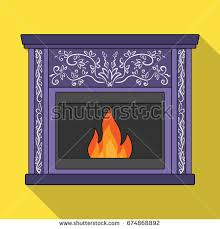 Flame And Comfort Fire Warmth Comfort Fireplace Single Icon Stock Vector 709853368
