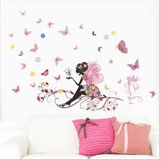 compare prices on children nursery decoration online shopping buy beautiful girl butterfly flower art wall sticker for home decor diy personality mural child room nursery