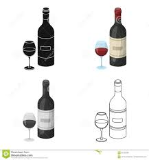 cartoon wine bottle spanish wine bottle with glass icon in cartoon style isolated on