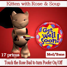 get well soon soup second marketplace sculpted kitten with bowl of soup