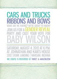 trucks and bows gender reveal party invitation by halfpintprints