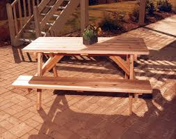 Red Cedar Octagon Walk In Picnic Table by Red Cedar Picnic Table W Attached Benches