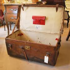 antiques atlas large brown leather trunk