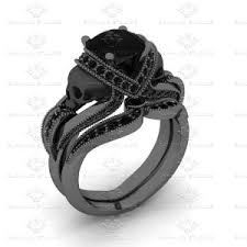 black gold wedding sets marseille 1 60ct white diamond black gold skull bridal set