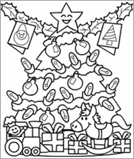 christmas tree cartoon coloring kids