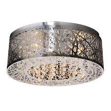 chrome flush mount light shop plc lighting nest 16 in w polished chrome flush mount light at