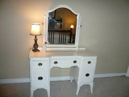Thin Vanity Table Furniture White Wooden Vanity With Five Drawers Combined With