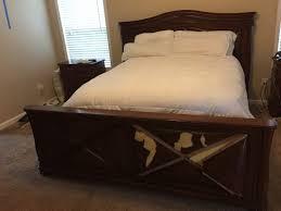 rustic barn door headboard diy cream polished wooden king size bed