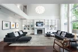 Open Floor Plan Living Room Ideas by Gray Sectional Sofa In A Large Open Floor Plan Living Room With