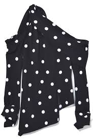 black polka dot blouse shoulder polka dot blouse in black white clothing
