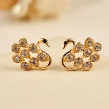 gold ear studs lovely gold plated alloy gem cygnet stud earring stud earrings