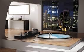 innovative bathroom design with square white corner bath tub also