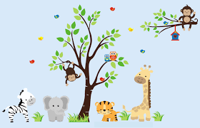 Children Wall Decals Nursery Wall Decals Animal Wall Art Zoo Animal Wall Art