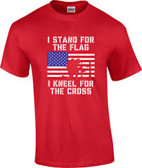 Flag Red With White Cross Tall I Stand For The Flag I Kneel For The Cross Patriotic