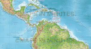 World Map Central America by Digital Vector Political World Map With Relief Terrain For Land