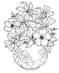 Draw A Flower Vase Beautiful Flowers In A Beautiful Flowering Vase Coloring Pages