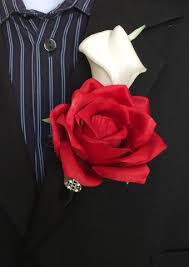 Red Rose Boutonniere Colorful Artificial Flower Wedding Bouquet Corsage Calla Lily