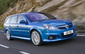 vauxhall blue 2005 vauxhall vectra vxr estate blue front angle driving uk