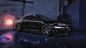 nissan r34 black nissan skyline r34 gtr v black car night wallpaper 1920x1080