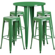 Indoor Bar Table 30 Green Metal Indoor Outdoor Bar Table Set With 4 Square