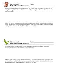 Depression Worksheets Angle Of Elevation U0026 Depression Trig Worksheet 4