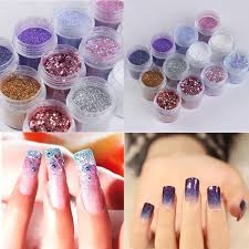 12 boxes set nails art powder glitter mixed sequins decoration diy