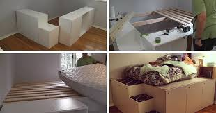 Ikea Platform Bed With Storage Diy Platform Bed From Ikea Kitchen Cabinets Beesdiy