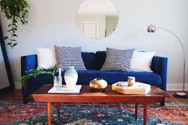 sofa traditional style blue mid century fairmont designs