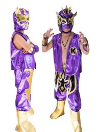 purple mask kid costume combo cara and kalisto in purple color mask sports