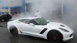 white c7 corvette 2015 c7 z06 dealership delivery burnout vengeance racing