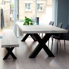 wood table with metal legs bolt industrial wood dining table metal legs