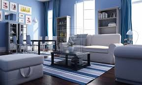 exclusive decor white blue theme living room interior decoración