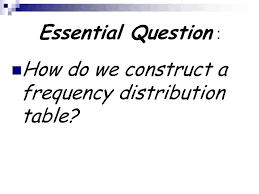 Frequency Distribution Table Frequency Distribution Ppt Video Online Download