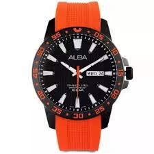 Jam Tangan Alba Pria alba sport jam tangan pria orange tali karet at2033 lazada