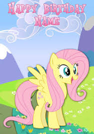 my little pony fluttershy personalised birthday card any name a5